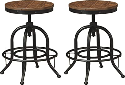 """Signature Design by Ashley Pinnadel Rustic Industrial 24"""" Counter Height Bar Stool, Set of 2, Light Brown & Black"""