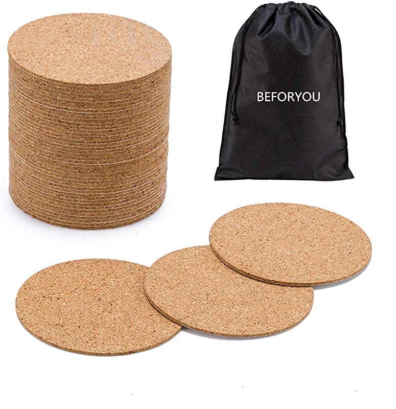 60 Pack Self Adhesive Cork Round Squares 4 X 4 Cork Backing Sheets Mini Wall Cork Tiles For Coasters And DIY Crafts