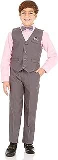 Boys 4 Piece Suit Set with Vest, Dress Shirt, Bow Tie, Pants and Pocket Square   Big & Little Kids Formal Apparel