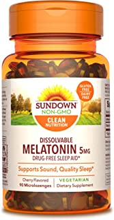 Melatonin by Sundown, for Restful Sleep, Non-GMOˆ, Free of Gluten, Dairy, Artificial Flavors, 5 mg, 90 Quic...