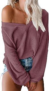 Women's Oversized Off Shoulder Pullover Tops Long Sleeve...