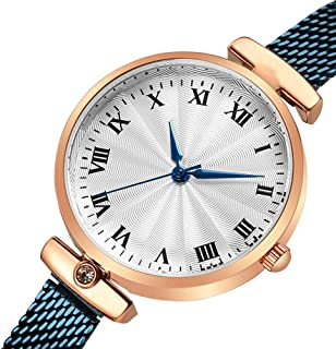 Waterproof Watch Rose Gold Blue Woman Girl Lady Student Retro Unproblematic Ultra-Thin 8mm Quartz Watch 28mm Stainless Steel Strap Fashion Raincoat 3ATM Decoration 3ATM
