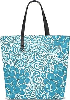 FANTAZIO Schultertasche für Damen, Blumenmuster, Blau
