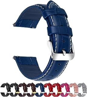 Fullmosa 18mm 20mm 22mm 24mm Bracelet Montre Cuir Véritable,Bamboo Bracelet de Montre Dégagement Rapide avec Fermoir en Ai...