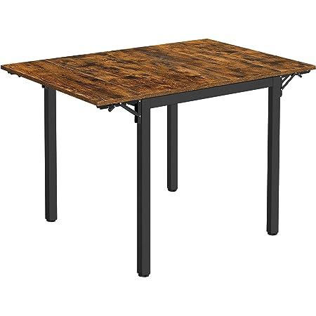 VASAGLE Table de Salle à Manger Pliable, Table de Cuisine Extensible, Bureau, pour 2 à 4 Personnes, rectangulaire, avec abattants, pour Petits espaces, Marron Rustique et Noir KDT077B01