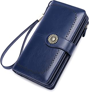 Womens Purses RFID Blocking Wallet Large Capacity Luxury Leather Wallet Passport Travel Purse (Blue)