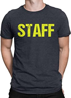 NYC FACTORY Staff T-Shirt Heather Charcoal Gray Mens Neon Tee Staff Event