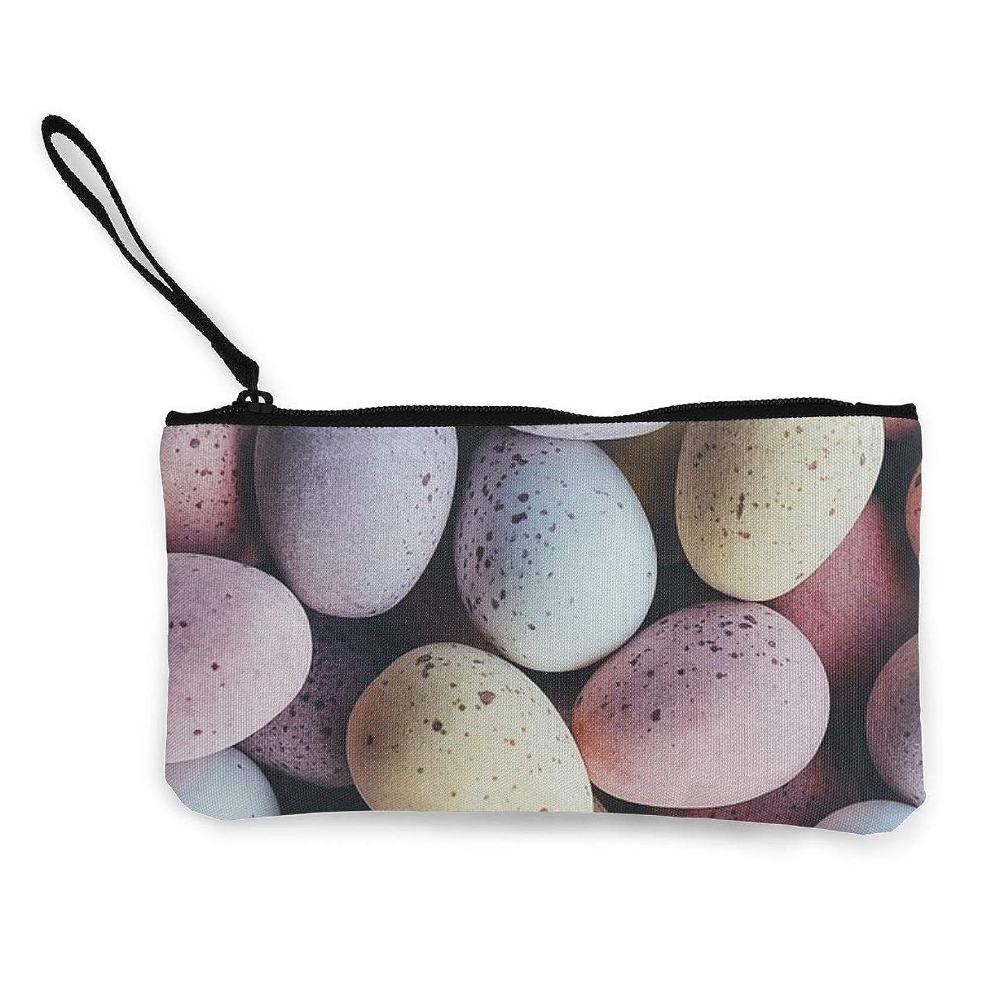 ケント永遠にふくろうErmiCo レディース 小銭入れ キャンバス財布 卵 イースターエッグ 小遣い財布 財布 鍵 小物 充電器 収納 長財布 ファスナー付き 22×12cm