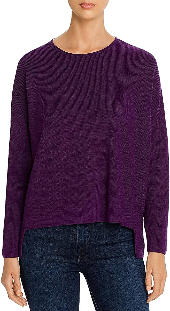 Eileen Fisher Womens Merino Wool Boxy Crewneck Sweater