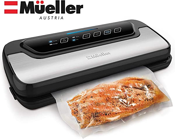 Vacuum Sealer Machine By Mueller Automatic Vacuum Air Sealing System For Food Preservation W Starter Kit Compact Design Lab Tested Dry Moist Food Modes Led Indicator Lights