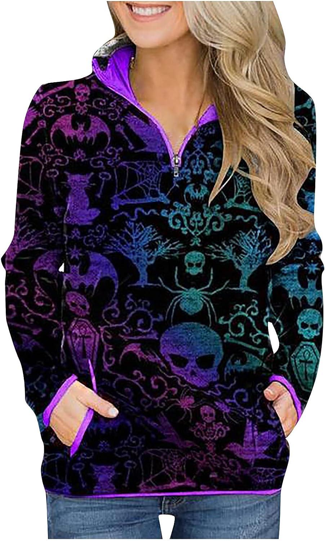 Ladies Fall Tops,Women's Casual Halloween Skull Pumpkin Printing Hedging Long Sleeve Tops Hoodie