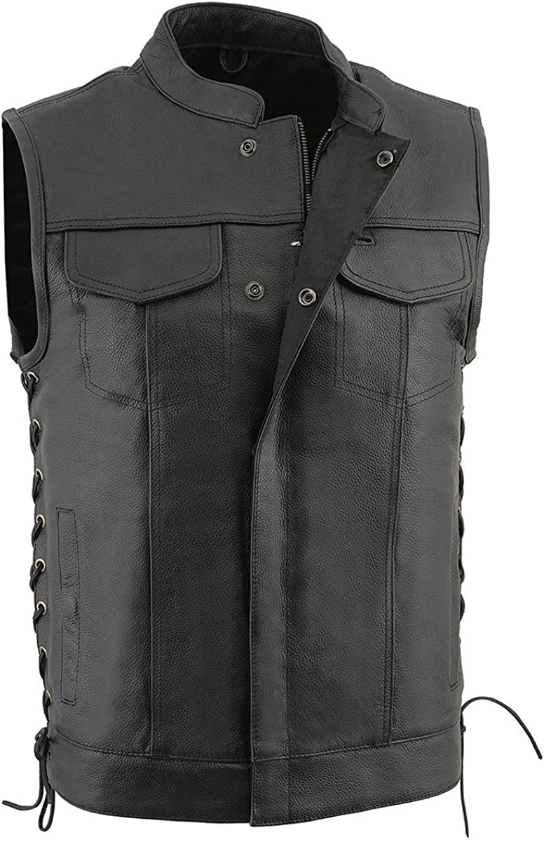 Milwaukee Leather LKM3712 Men's Side Lace Front Snap and Zipper Leather Club Vest