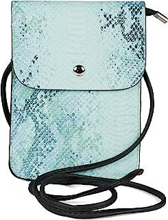 styleBREAKER Damen Mini Bag Umhängetasche glänzender Schlangenleder Optik, Handytasche, Schultertasche, Handtasche 02012366