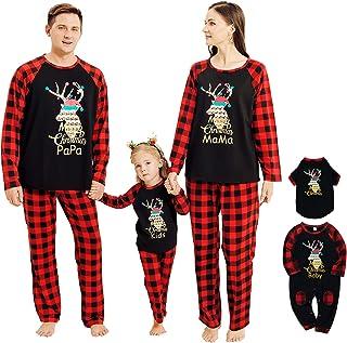 Conjunto de ropa de Navidad con diseño de reno a cuadros, pijama para mascota bebé niño mamá papá