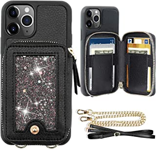 iPhone 11 Pro Max Wallet Case, JLFCH iPhone 11 Pro Max Crossbody Case with Glitter Bling Card Slot Holder Laryand Chain Wrist Strap Zipper Purse for Apple iPhone 11 Pro Max 6.5 inch - Black