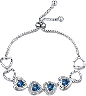 Sterling Silver Endless Love Series Bracelet, Crystals from Swarovski, Fine Anniversary Birthday Jewelry Gifts for Women