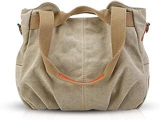 NICOLE & DORIS Canvas Tasche Damen Tragetaschen für Damen Schultertaschen Umhängetasche Leinwand Handtasche Mädchen Khaki