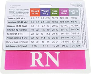 RN Badge Buddy Pink Horizontal with Pediatric Vital Signs and Developmental Milestones Badge ID Card for Nurses. Set/Bundle 2 Items