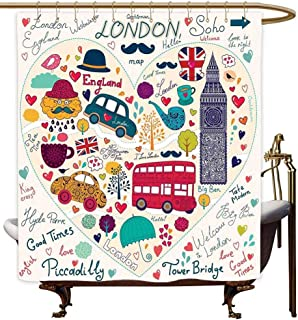MaryMunger Hotel Style Shower Curtain London Colorful Symbols Red Bus Big Ben Tea Umbrella Hat Retro Black Cabin in a Heart Print Art Print Polyester W55x84L Multicolor