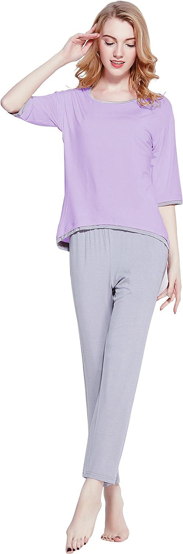MANYC Women's Sleepwear Half Sleeve Crew Neck Bamboo Pajama Set