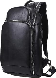 ボディバッグ ワンショルダーバッグ 本革 メンズ 斜め掛けバッグ USBポート付き 大容量 9.7インチiPad 収納可 3way 通学 通勤 自転車 旅行 左右肩掛け対応 「1年間の安心保証」