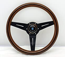 NARDI Steering Wheel - Deep Corn - 330mm (12.99 inches) - Mahogany Wood with Black Spokes - Classic Horn Button - Part # 5...