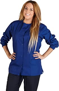 Natural Uniforms Women's Warm Up Jacket Medical Scrub Jacket (XS to 5XL) (Medium, Dark Royal Blue)