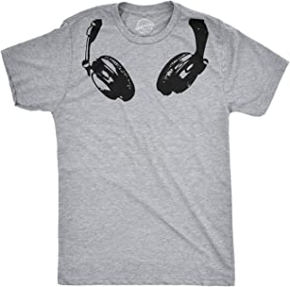 Headphones Around The Neck T Shirt Cool Music Rock and Roll DJ Tee