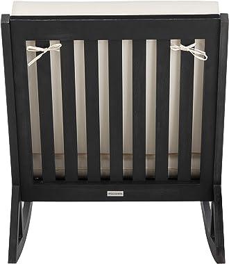 Safavieh PAT7013F Outdoor Collection Vernon White Rocking Chair, Black/Beige