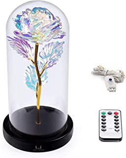 Louis Garden Beauty and The Beast Rose Kit, Colorful Gold Foil Rose and Led Light in Glass Dome on Black Wooden Base for Home Decor Holiday Party Wedding Anniversary