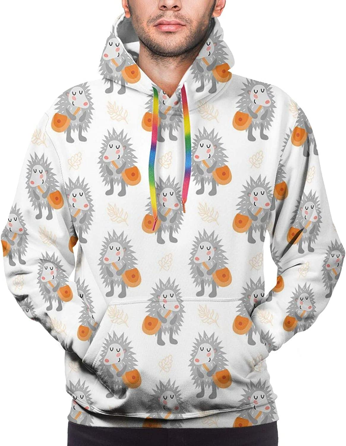 Men's Hoodies Sweatshirts,Illustration of Spiky Animals with Orange Bags Subtle Smile and Leaves