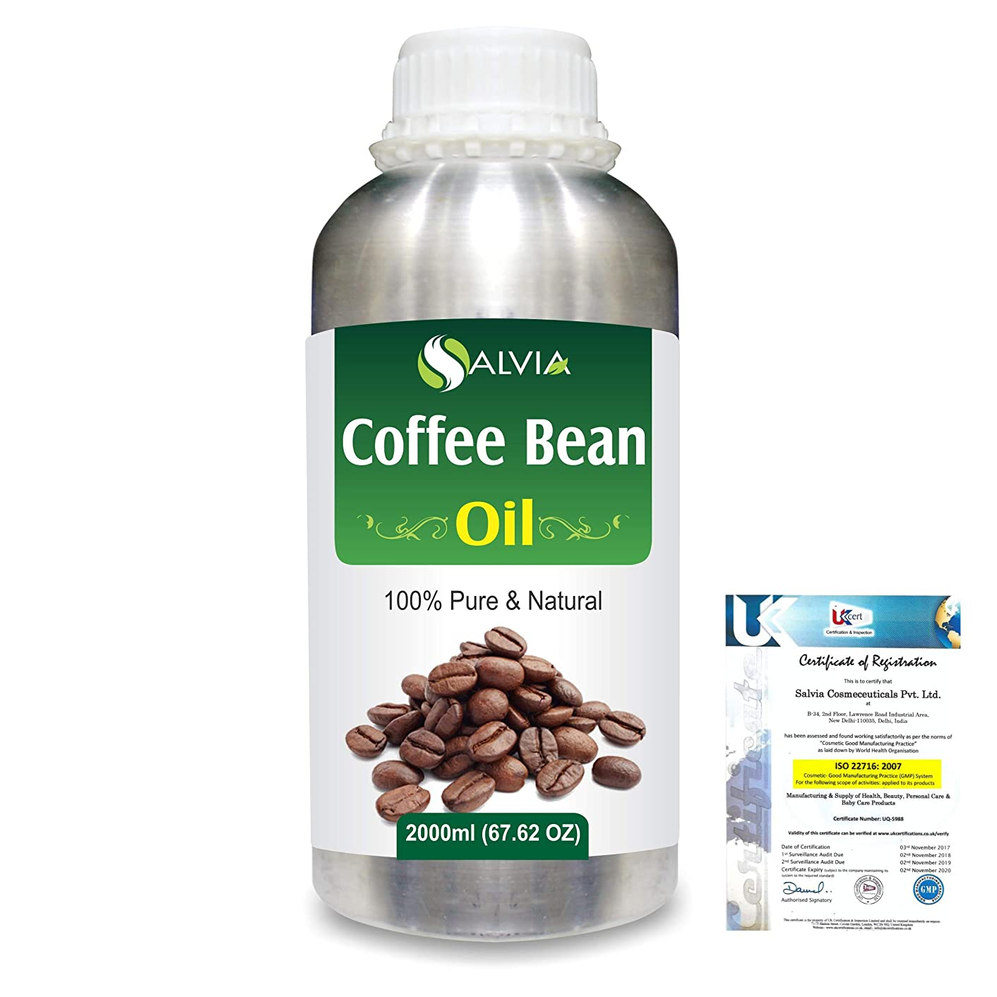 必要地震幸運なことにCoffee Bean (Coffea arabica)100% Natural Pure Carrier Oil 2000ml/67 fl.oz.
