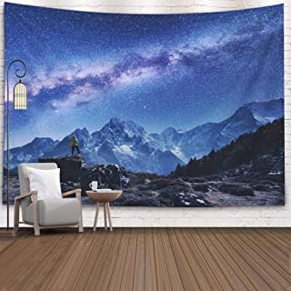Musesh Huge Tapestry,Tapestry Wall Hanging,Rap Tapestry Wall Hanging Space Milky Way Mountains Standing Man The Stone Starry Sky Night in Nepal Rocks Snowy Peaks 80X60 Inches Size,Red Green