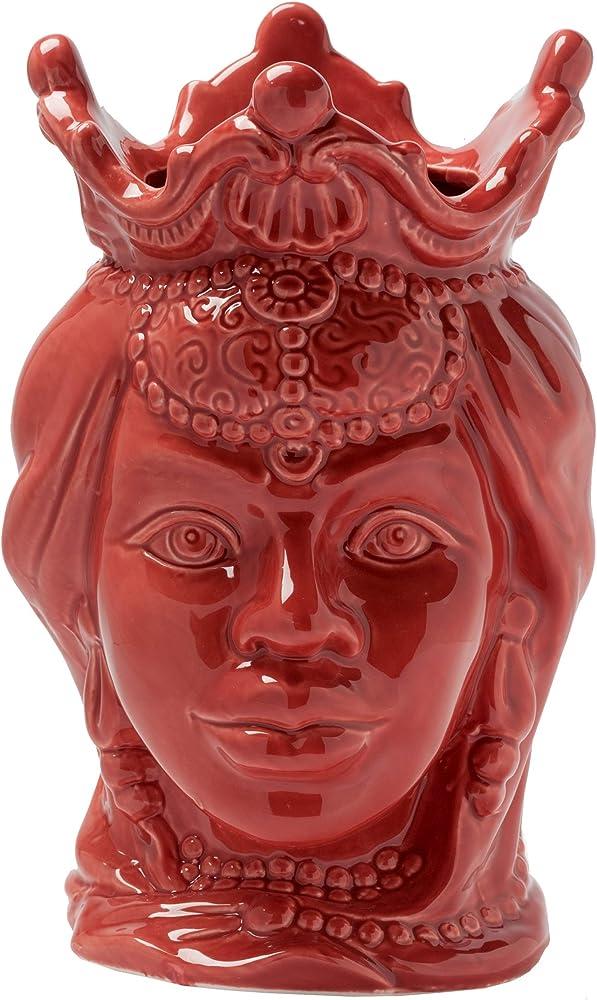 Montemaggi teste di moro, vasi in  porcellana ,in stile siciliano, regina corallo, 15x15x24 cm
