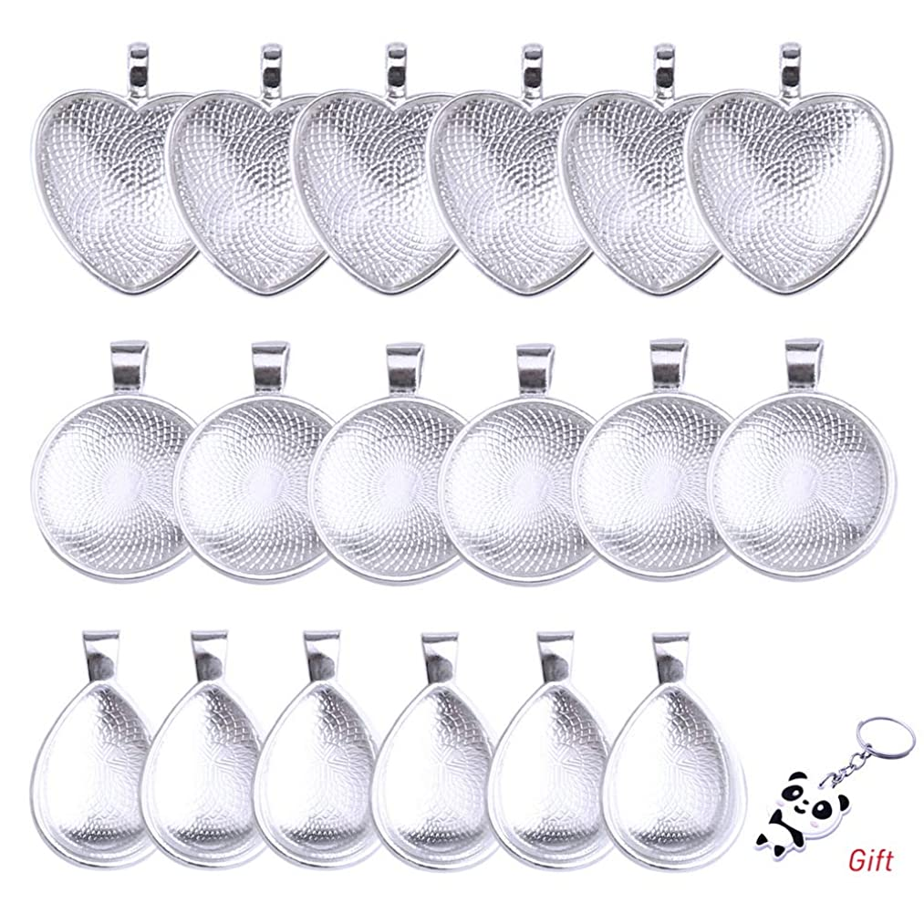 Pengxiaomei 36 Pieces 18 Sets Pendant Trays with Glass Cabochon, Silver Pendant Trays Round/Heart/Teardrop Bezel Tray with Clear Dome Tiles for Crafting DIY Jewelry Gift Making