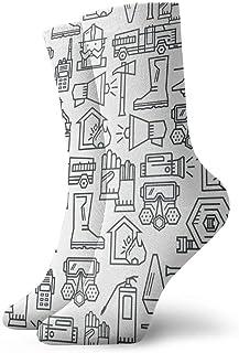 Línea de bomberos Icono para hombre Calcetines cortos para mujer Calcetines clásicos de algodón de 30 cm para yoga Senderismo Ciclismo Correr Fútbol Deportes