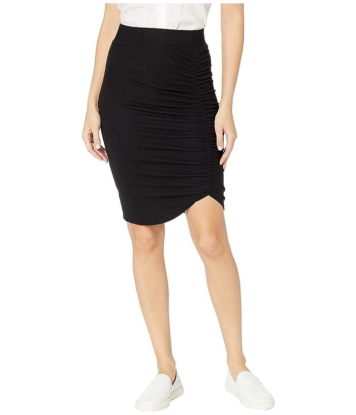 LAmade Ariel 2X1 Modal Stretch Rib Gathered Skirt (Black) Women