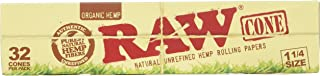 RAW Organic Unrefined Pre-Rolled Cone 32 Count (1 1/4 Size)