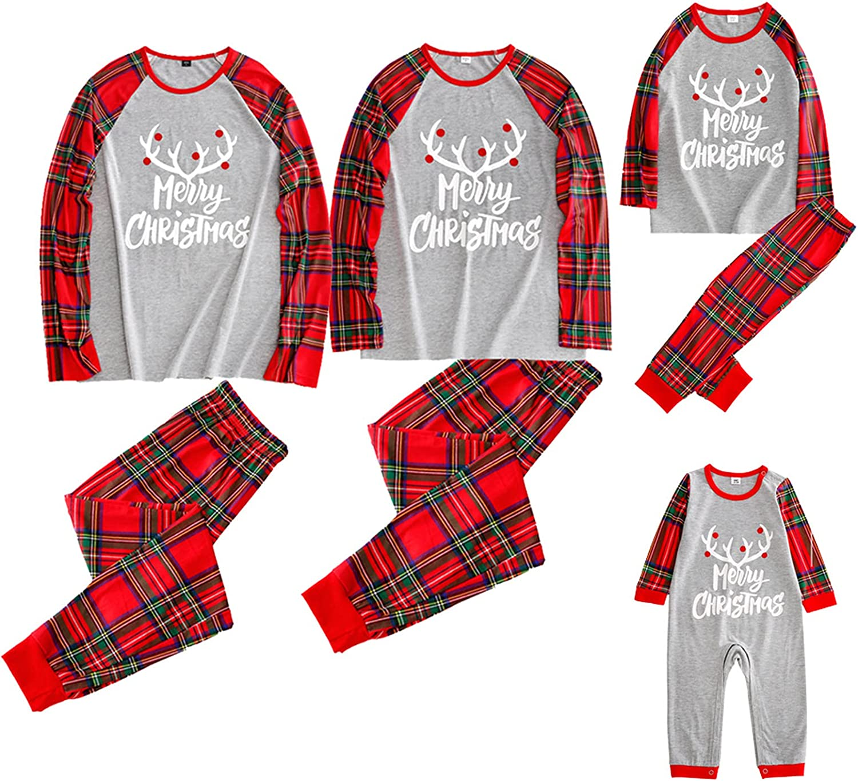 Christmas Family Matching Pajamas Set Elk Print Long Sleeve Tops Plaid Lounge Long Pants Comfy Sleepwear Pjs Outfits