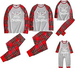 Greetuny Family Christmas Pjs Matching Sets Christmas Plaid Letter Print O-Neck Long Sleeve Pullover+ Long Pants for Kids ...