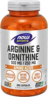NOW Sports Nutrition, Arginine & Ornithine 500/250 mg, Amino Acids, 250 Capsules