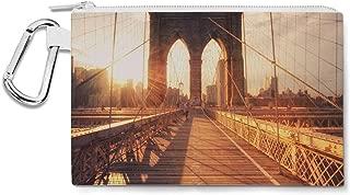 Brooklyn Bridge at Sunset Canvas Zip Pouch - Multi Purpose Pencil Case Bag