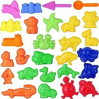 TOYMYTOY 27 Piezas Conjunto de Juguetes de Playa Variedad de Accesorios Animales Arena moldes Herramientas para niños (Color Aleatorio)