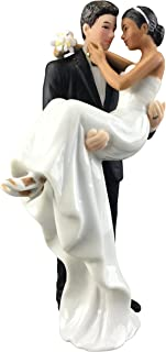 Wedding Collectibles Caucasian Groom Holding African American Bride Interracial Cake Topper Figurine