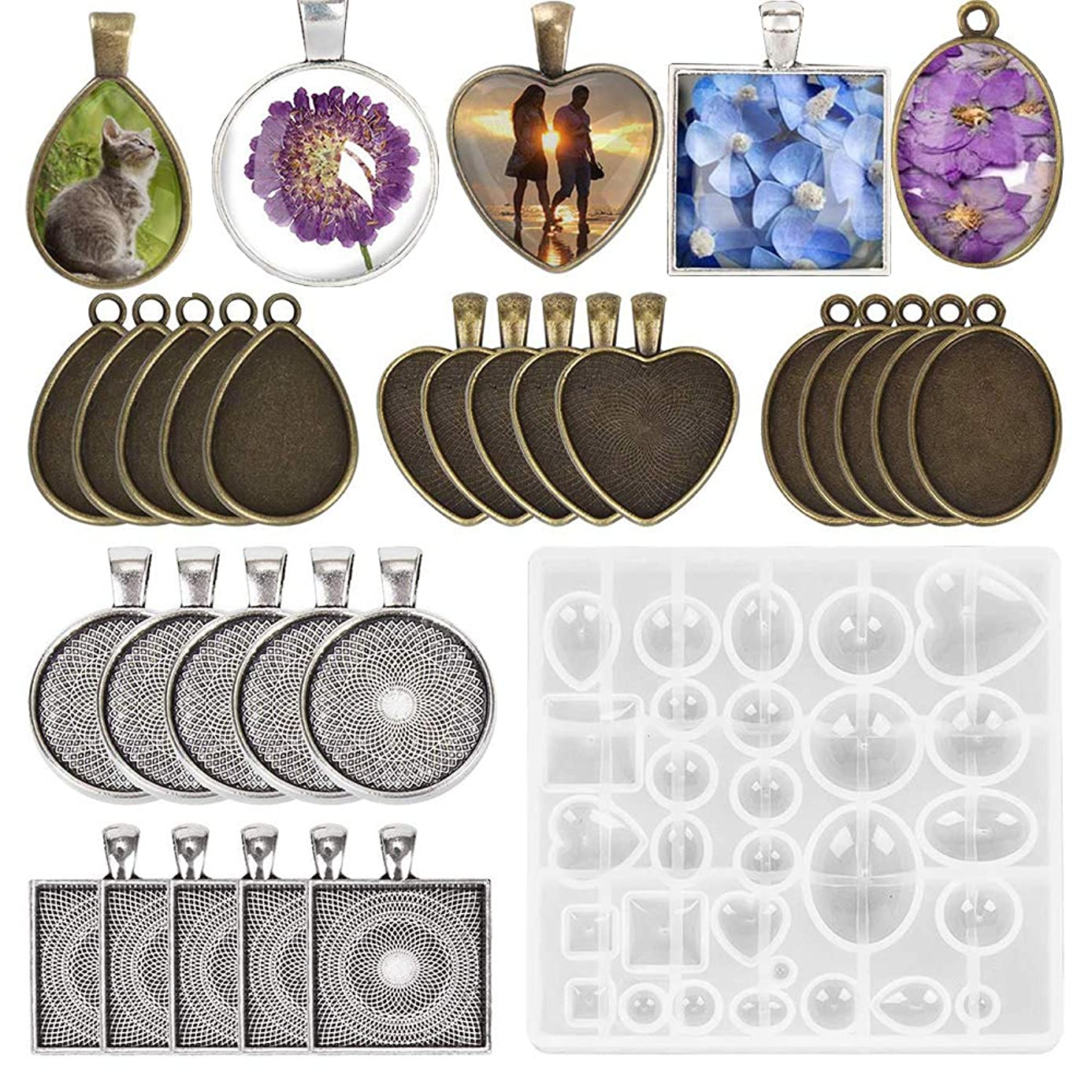 Velidy 5 Styles Pendant Trays Set+1pcs Silicone Resin Jewelry Mold 31pcs Round Square Heart Teardrop and Oval Jewelry Bezel Vintage Bronze Pendant Base for Jewelry Making (31pcs Resin Casting Molds) ozb5665245