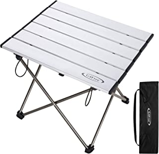 G4Free Portable Folding Camping Table Aluminum Lightweight Camp Table Compact Roll Up Tables with Carrying Bag for Outdoor Camping Hiking Picnic Backpacking