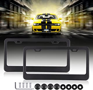 SCITOO Stainless Steel License Plate Frame Black Car Licence Plate Covers 2 PCS 2 Holes with Bolts Washer Caps fit US Standard