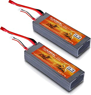 FLOUREON 2S Lipo Battery 7.4V 30C 5200mAh RC Batteries Rechargeable Hard Case with T Plug for 1/8 and 1/10 rc car, Losi, Traxxas Slash, Team Associated, Axial, Tamiya Duratrax, Redcat Racing Truck