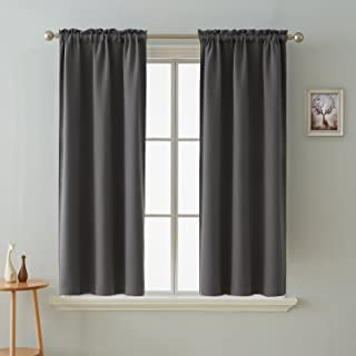 Deconovo Rod Pocket Window Panels Thermal Insulated Blackout Curtains for Kids Room 38 x 63 Inch Dark Grey 2 Curtain Panels