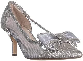 Nina Women's Bianca Kitten Heel Pump White Diamond Glitter Fabric Heels, Size 7 B(M)